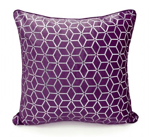 Large Geometric Shimmer Glitzy Metallic Foil Print Design Filled Scatter Cushion Aubergine